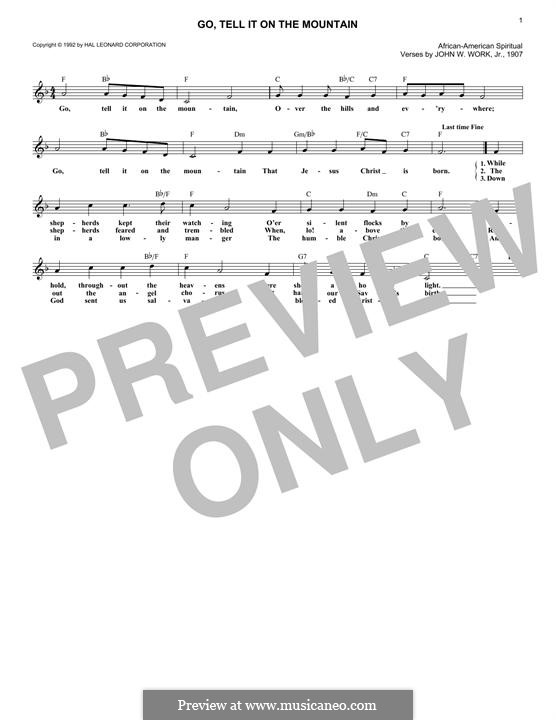 Go, Tell it on the Mountain (Printable Scores): melodia by folklore