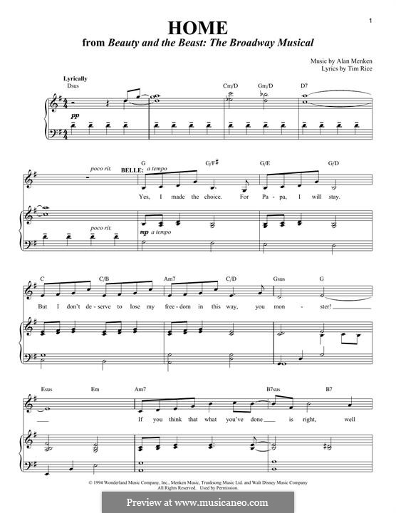 Home (from Beauty and the Beast: The Broadway Musical): Para vocais e piano by Alan Menken