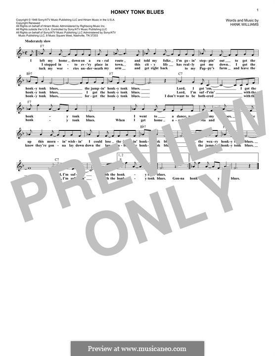 Honky Tonk Blues: melodia by Hank Williams