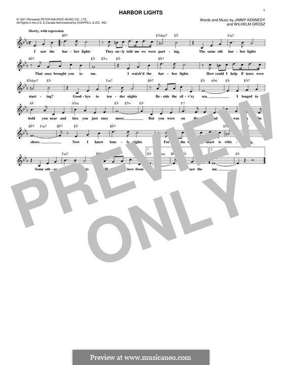 Harbor Lights: melodia by Wilhelm Grosz, Jimmy Kennedy