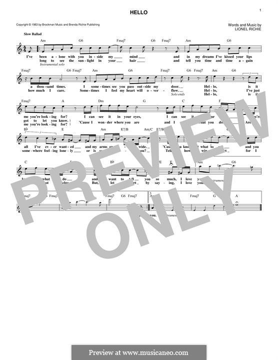 Hello: melodia by Lionel Richie