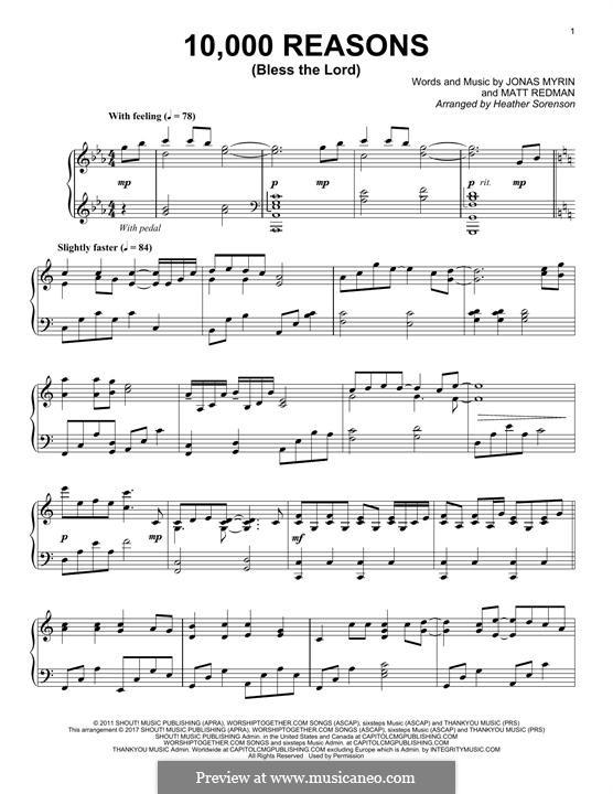 10,000 Reasons (Bless the Lord): Para Piano by Jonas Myrin, Matt Redman
