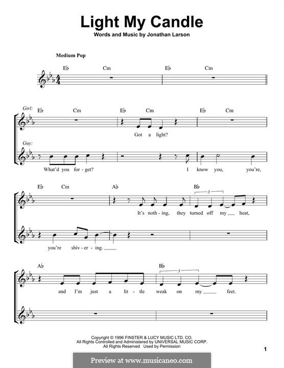 Light My Candle: melodia by Jonathan Larson