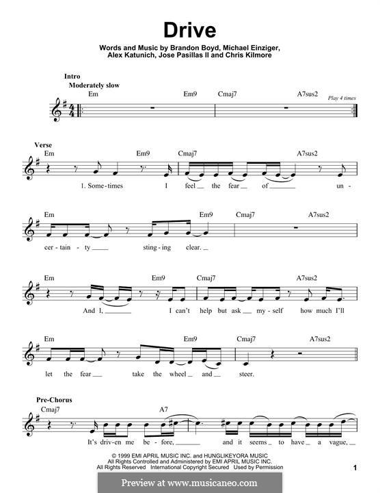 Drive (Incubus): melodia by Alex Katunich, Brandon Boyd, Chris Kilmore, Jose Pasillas II, Michael Einziger
