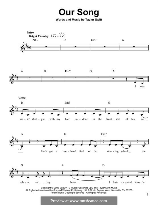 Our Song: melodia by Taylor Swift
