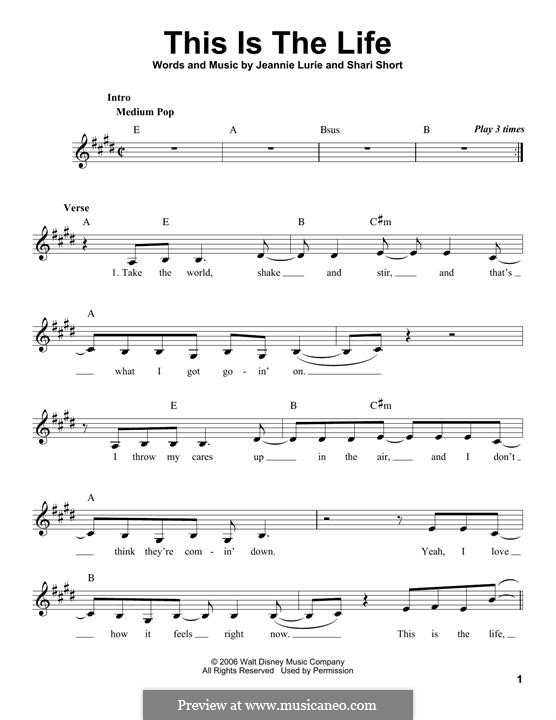 This is the Life (Hannah Montana): melodia by Jeannie Lurie, Shari Short