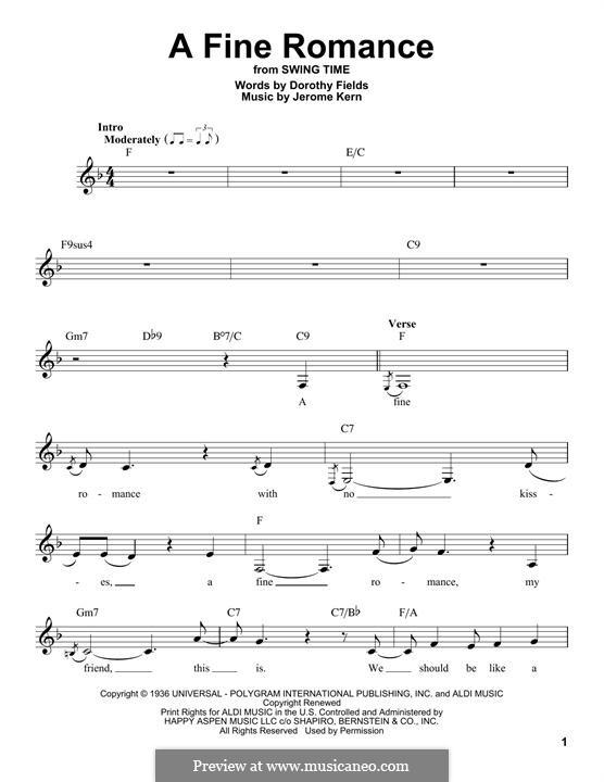 A Fine Romance: melodia by Jerome Kern