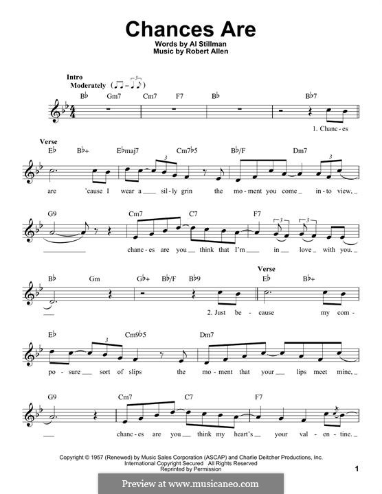 Chances Are (Johnny Mathis): melodia by Robert Allen