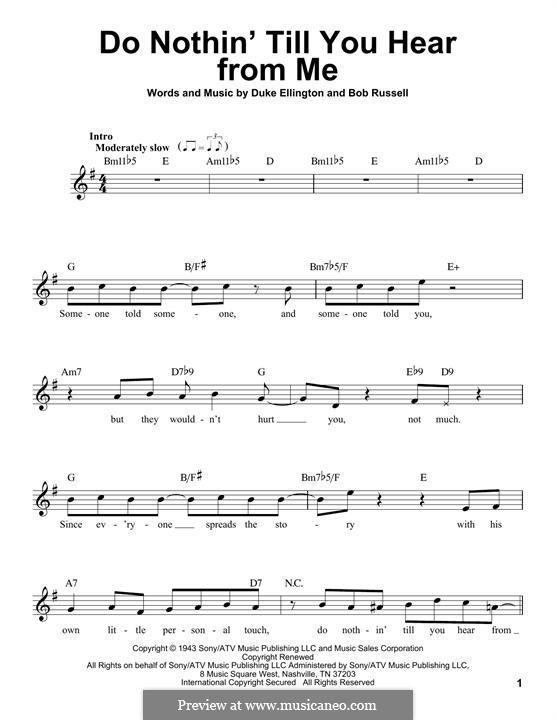 Do Nothin' Till You Hear from Me: melodia by Duke Ellington