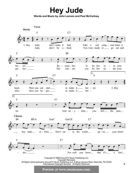 Hey Jude (The Beatles): melodia by John Lennon, Paul McCartney
