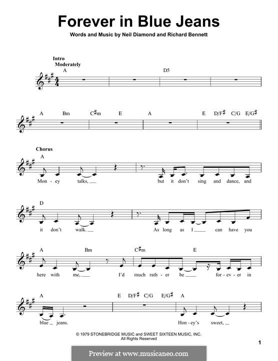 Forever in Blue Jeans: melodia by Richard Bennett