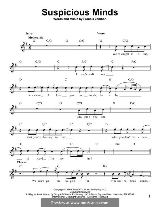 Suspicious Minds (Elvis Presley): melodia by Francis Zambon