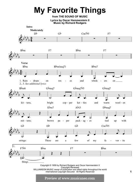 My Favorite Things (from The Sound of Music): melodia by Richard Rodgers