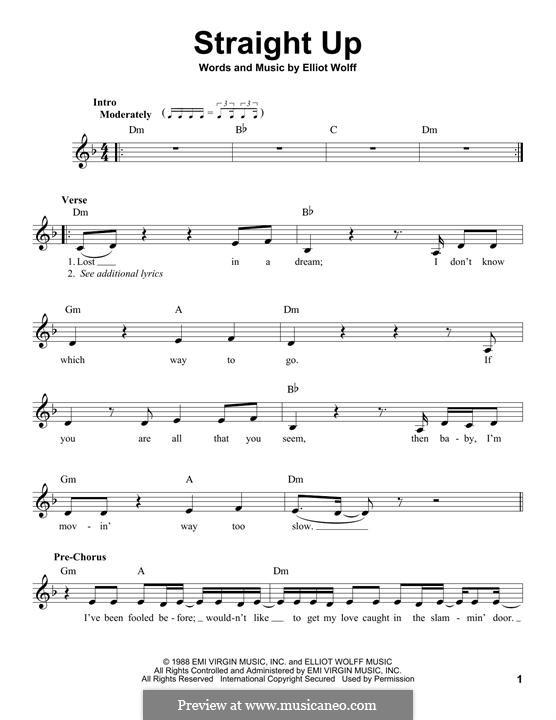 Straight Up (Paula Abdul): melodia by Elliot Wolff