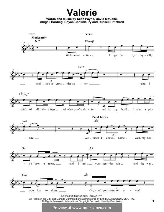 amy winehouse valerie piano sheet music - Piano Ideas