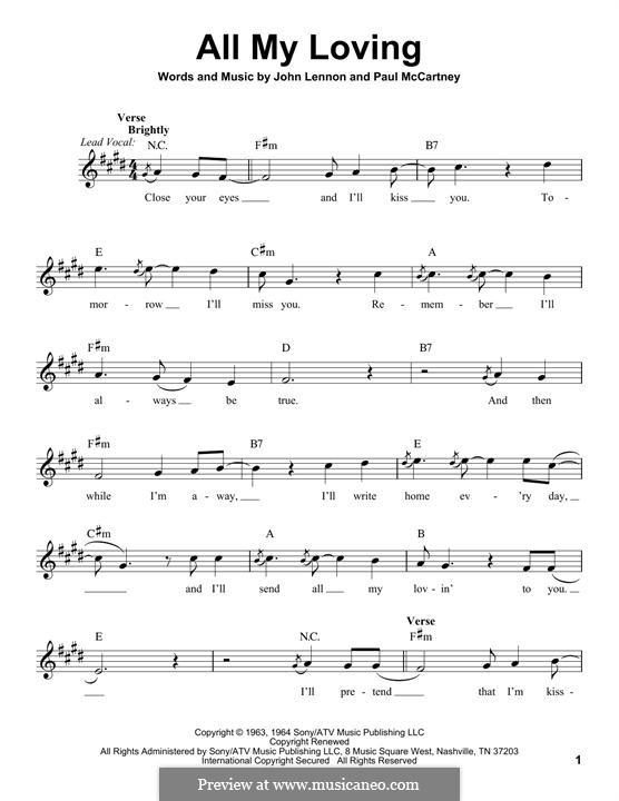 All My Loving (The Beatles): melodia by John Lennon, Paul McCartney