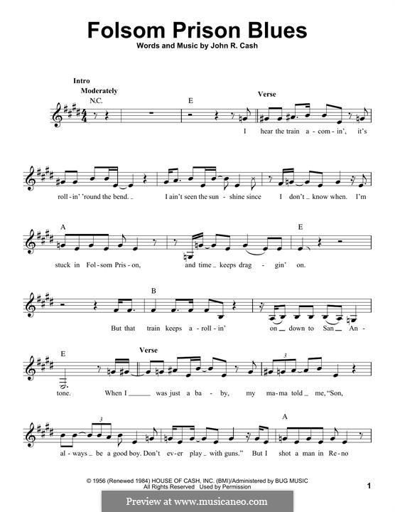 Folsom Prison Blues: melodia by Johnny Cash