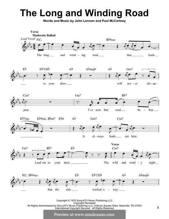 The Long and Winding Road (The Beatles): melodia by John Lennon, Paul McCartney