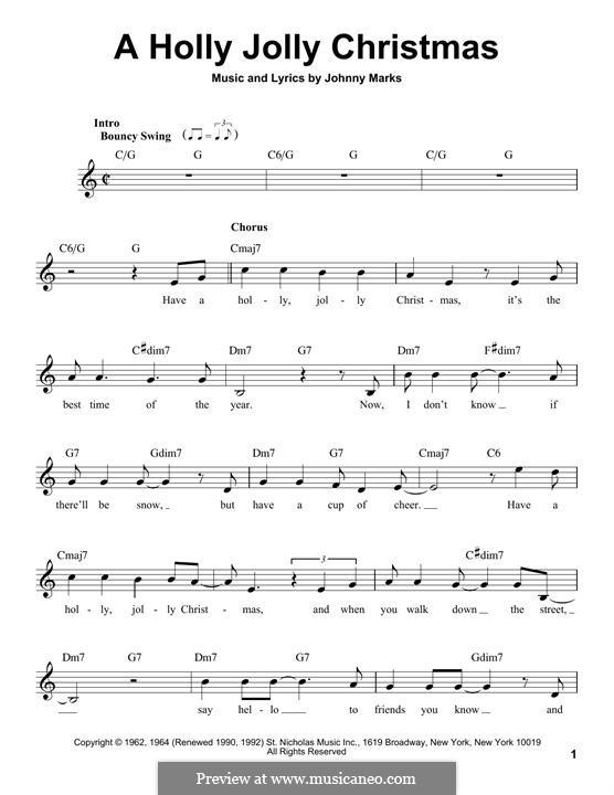 A Holly Jolly Christmas: melodia by Johnny Marks