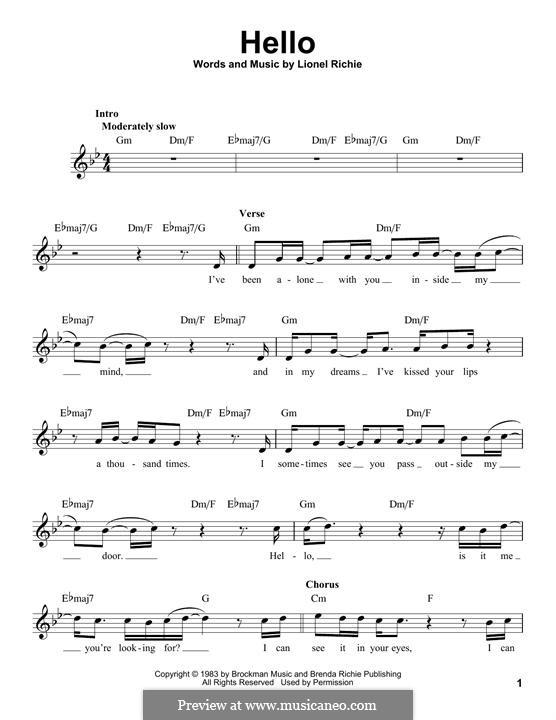 Hello: Melody line (Glee Cast) by Lionel Richie