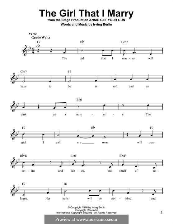 The Girl That I Marry: melodia by Irving Berlin