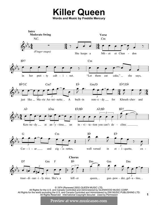 Killer Queen (Queen): melodia by Freddie Mercury