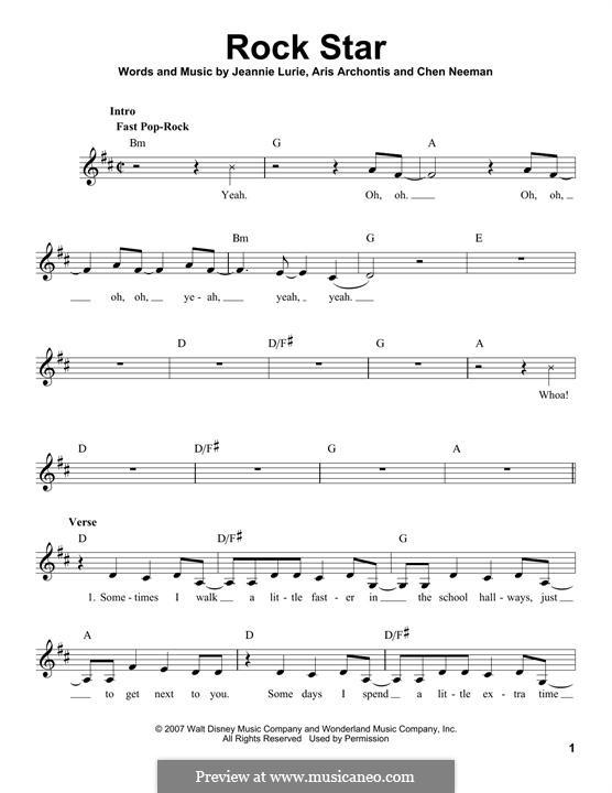 Rock Star (Hannah Montana): melodia by Aris Archontis, Chen Neeman, Jeannie Lurie