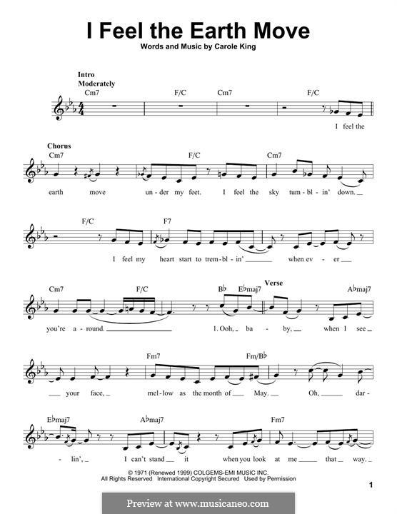 I Feel the Earth Move: melodia by Carole King