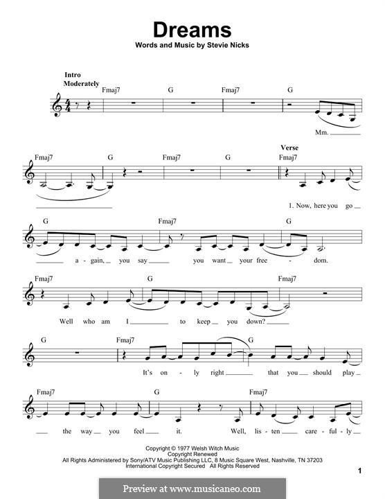 Dreams (Fleetwood Mac): melodia by Stevie Nicks