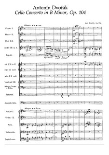 Concerto for Cello and Orchestra in B Minor, B.191 Op.104: Partitura completa by Antonín Dvořák