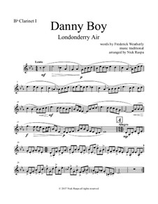 Danny Boy (Londonderry Air): For clarinet choir – B Flat clarinet 1 part by folklore