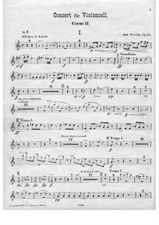 Concerto for Cello and Orchestra in B Minor, B.191 Op.104: trompa parte II by Antonín Dvořák