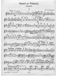 Concerto for Cello and Orchestra in B Minor, B.191 Op.104: flauta parte I by Antonín Dvořák