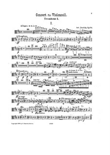 Concerto for Cello and Orchestra in B Minor, B.191 Op.104: trombone parte I by Antonín Dvořák