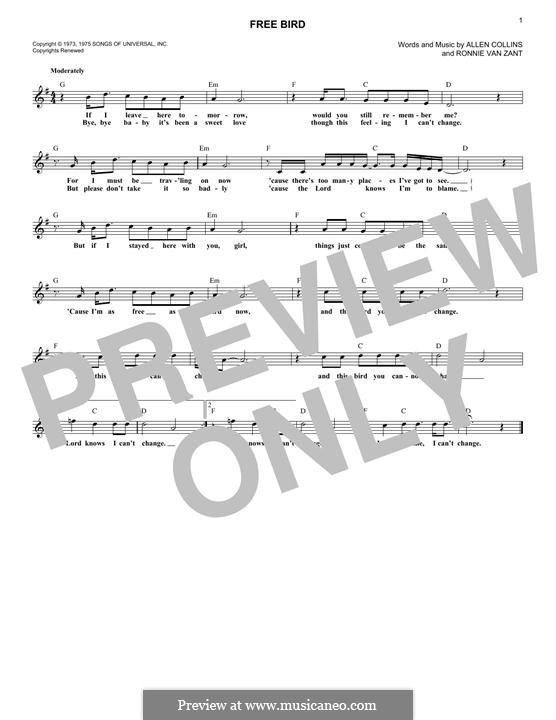 Free Bird (Lynyrd Skynyrd): melodia by Allen Collins, Ronnie Van Zant