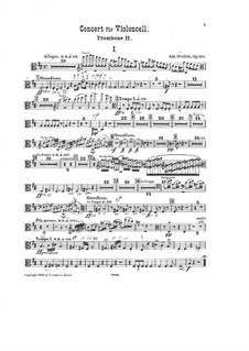 Concerto for Cello and Orchestra in B Minor, B.191 Op.104: trombone parte II by Antonín Dvořák