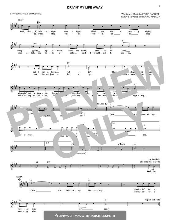 Drivin' My Life Away (Eddie Rabbitt): melodia by David Malloy, Even Stevens