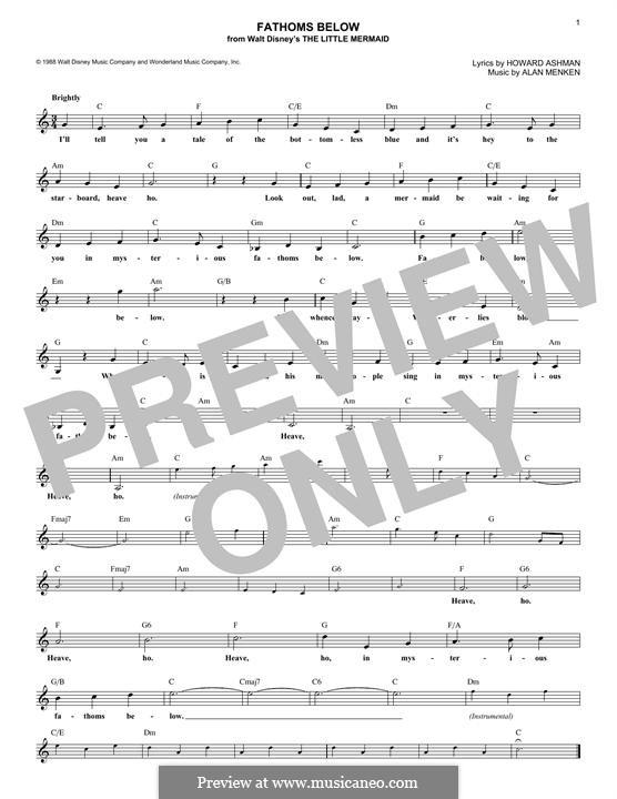 Fathoms Below (Stage Show): melodia by Alan Menken
