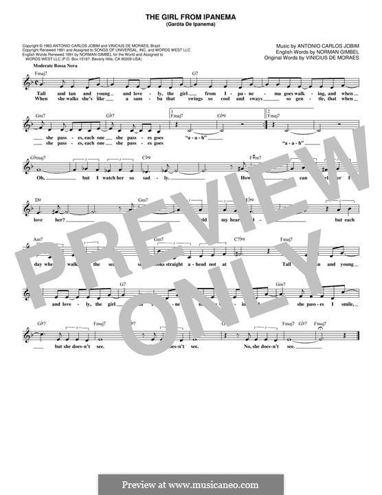 The Girl from Ipanema (Garota de Ipanema): melodia by Antonio Carlos Jobim