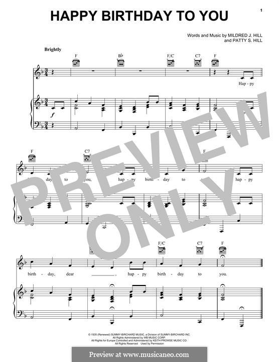 Happy Birthday to You: Para vocais e piano (ou Guitarra) by Mildred Hill