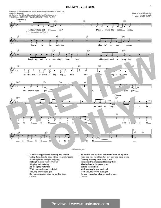 Brown Eyed Girl: melodia by Van Morrison