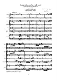 Six Concerti Grossi for Winds, Strings and Cembalo, Op.3: Concerto Grosso No.4 in F Major, HWV 315 by Georg Friedrich Händel