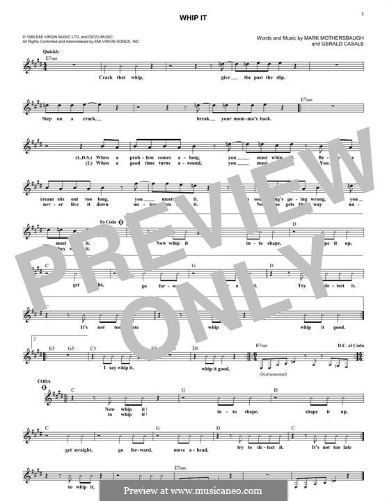 Whip It (Devo): melodia by Gerald Casale, Mark Mothersbaugh