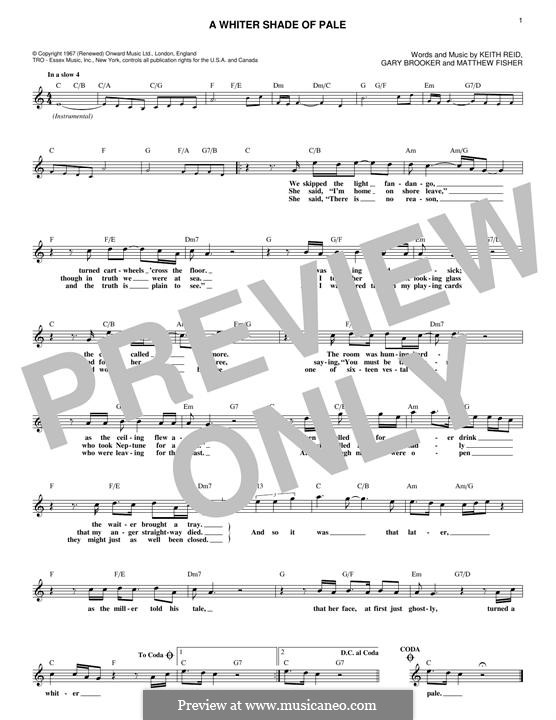A Whiter Shade of Pale (Procol Harum): melodia by Gary Brooker