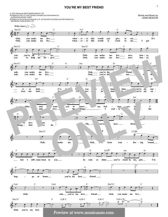 You're My Best Friend (Queen): melodia by John Deacon