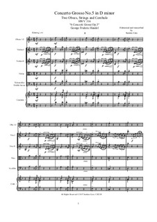 Six Concerti Grossi for Winds, Strings and Cembalo, Op.3: Concerto Grosso No.5 in D Minor, HWV 316 by Georg Friedrich Händel
