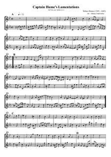 Captain Hume's Lamentations: Für Flöte und Altflöte by Tobias Hume