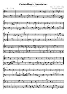 Captain Hume's Lamentations: Für Flöte und Fagott by Tobias Hume
