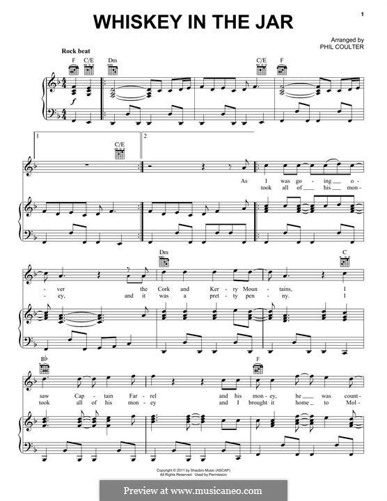 Whiskey in the Jar: Para vocais e piano (ou Guitarra) by folklore