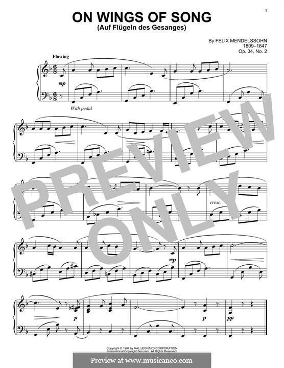 Six Songs, Op.34: No.2 Auf flügeln des gesanges (On Wings of Song), for piano by Felix Mendelssohn-Bartholdy